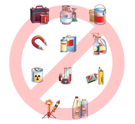 Перечень запретных предметов